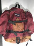 Jansport Leather Bottom Backpack Day Pack Made In Usa Maroon Vintage 90s Classic