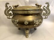 19th Century Chinese Antique Large Brass Jardinière Or Planter