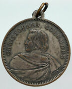 1893 Usa Columbus Exposition Harbor And Ships Vintage Antique Old Medal I90622