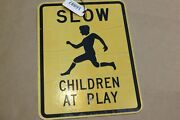 Authentic Slow Children At Play Road Sign Real Street Vintage Retired 24x18