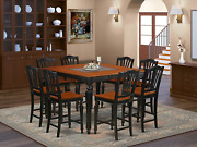 9 Pc Counter Height Set- Square Pub Table And 8 Stools