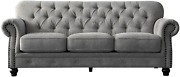 Acanva Luxury W Couch Chesterfield Chenille Tufted Living Room Sofa 91 Light