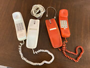 Lot Of 2 Vintage Western Electric Trimline Push Button Phone Orange And Cream Cord