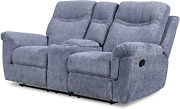 Benjara Fabric Recliner Console Loveseat With 2 Cupholder And Power Glider Blue