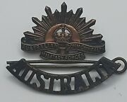 Wwii Australian Commonwealth Military Forces Army Hat Badge Pin .original Patina