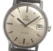 Omega Geneva Date Cal.565 Antique Automatic Mens Ss Leather Silver Dial [e0427]
