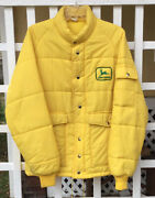 Vintage John Deere Patch Jacket Farm Tractor Seed Agriculture Puffer Med Rare