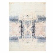 8and0399x11and03910 Ivory Wool And Silk Modern Hand Knotted Rug G62409