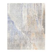 8and039x10 Hand Knotted Gray Abstract Design Modern Woolsilk Oriental Rug G62406