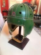 1940's Macgregor Goldsmith Leather Football Green Helmet Museum High Quality