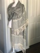 Vintage Mexican Rebozo Handmade Cotton Black White With Beads Shawl Wrap Scarf