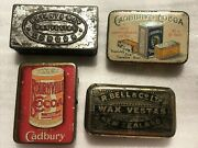 4 Antique Tin Advertising Match Safes R Bell And Co Bryant And May London Cadbury