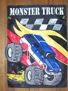 Monster Truck With Big Tires Checkered Racing Applique House Flag 2-sided