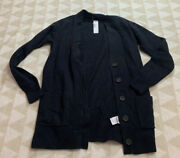 J Crew Long Cardigan In Supersoft Yarn Item Ab797 Solid Black Button Front Xs