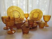 Tiara Indiana Glass Amber Sandwich Plates, Goblets, 6 Ounce Cups, 20 Piece Set