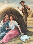 19th Century Antique Figurative Landscape Oil Painting Old Americana Realism Wow