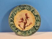 Antique Butter Pat Wedgwood Majolica Shell And Seaweed Rare Butter Pat