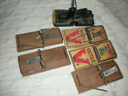 Vintage Mouse Traps Victor Metal And Wood Old Primitive Display Package Of 6
