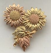 10k Black Hills Gold Sunflowers And Grape Leaves Brooch Pin
