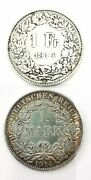 Set 2 Coins Silver 1 Mark Germany 1914a And 1 Franc Switzerland 1914. Ad1730