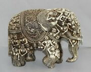 Vintage Wooden Elephant With Bne Very Fine Indian Carving Work Rare Figurine