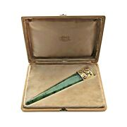 Antique Russian Silver Gilt Gold And Nephrite Letter Opener With Box