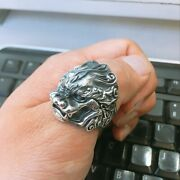 Lion Head Pattern Punk Accessories Thai Sterling Silver Resizable Rings For Men