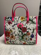 New Linea Flora Tote Two-way Bag Canvas Leather Hot Pink Crossbody 1500