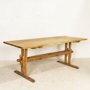 Antique Pine Farm Trestle Dining Table