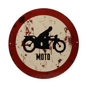 Tin Sign Moto Motorcycle Biker Prohibition Traffic Road 11 13/16in New