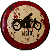 Tin Sign Moto Motorcycle Biker Prohibition Traffic Road 13 3/8in New