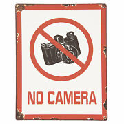 Tin Sign No Camera Photography Photo Picture Intake Prohibition 11x8 11/16in