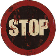 Tin Sign Stop Motorcycle Car Prohibition Traffic Road 11 13/16in New
