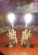 Vintage Wales Victorian Colonial Couple Figurine Lamp Made In Japan