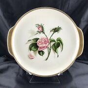 Universal Potteries Ballerina Pink Moss Rose Cake Plate Gold Rim With Handles