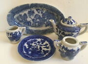 Vintage Toy Doll Dishes Blue Willow Japan 1950 Replacements