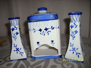 candle Holders And Matching , Match/tea Bag Blue And White Porcelain Euc