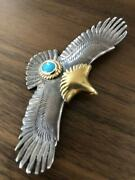 Tady And King Eagle Pendant Top 18k Gold Eagle Turquoise Large Goroand039s From Japan