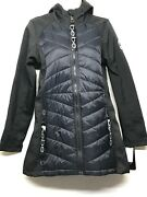 Nwt Bebe Sport Womenand039s Quilted Puffer Black Fleece Jacket Olyb096h Size Small