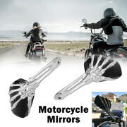 Pair Motorcycle Skull Hand Rearview Mirrors For Harley Cafe Racer Bobber Chopper