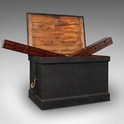Antique Master Craftsmanand039s Chest English Pine Mahogany Tool Trunk Victorian