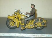 Vintage Cast Iron Hubley Harley-davidson Motorcycle W Policeman Driver Pull Toy