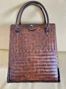 Bamboo Basket Drawstring Bag Leather Color Brown Height 34 Handmade Product New