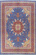 Blue Traditional Floral Oriental Vegetable Dye Hand-knotted Area Rug Wool 9x12