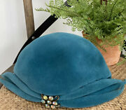 Vintage 1950s Flechats Dramatic Style Teal Velvet Hat W/rhinestone Accent France