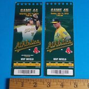 2 Oakland Athletics As Used Ticket Stubs Vs Red Sox 2013 Mvp Infield