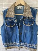 Keren Hart Womenand039s L Large Denim Embroidered Button Collared Vest Floral Rn94153