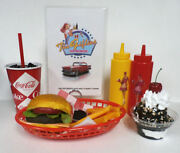 Fake Food Diner Car Hopandnbspcheeseburger Meal W/menu And 16oz 60and039s Coke Cup