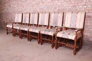 Baker Furniture Carved Walnut Upholstered Dining Chairs, Set Of Six