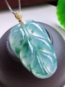 Certified Grade A Icy Green Jadeite Jade 18k Gold And Leaf Pendant 0428